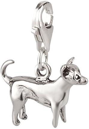 Charm Geschenke NewL S/ü/ßer Chihuahua Hunde-Anh/änger Original rosa Emaille Modeschmuck Accessoires f/ür M/ädchen 925er Silber