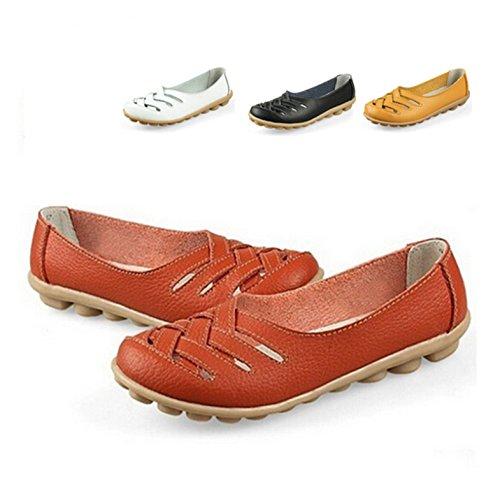 Jeff Fashion Split Working Flats Tribble Leather Women Nurses Sandals Shoes Out Hollow Shoe Summer Yellow rnqTr41W