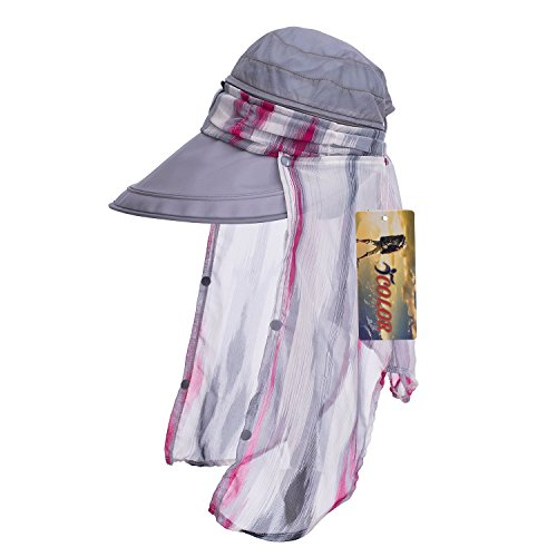 ICOLOR UPF 50+ Quick Drying Flap Hats Cap ,Removable Neck Flap Cover,Sun cap Protection Hats for women girls Backpacking, Hiking, Cycling,Fishing, Camping,garden & more Outdoor Activities-Gray
