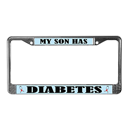 CafePress - Son Has Diabetes License Plate Frame - Chrome License Plate Frame, License Tag Holder
