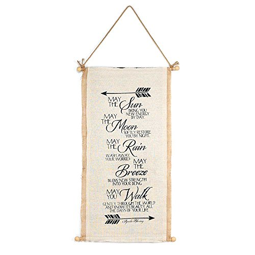 (Jozie B May The Sun Bring Apache Blessing 12 x 30 Rustic Burlap Hanging Wall Tapestry )