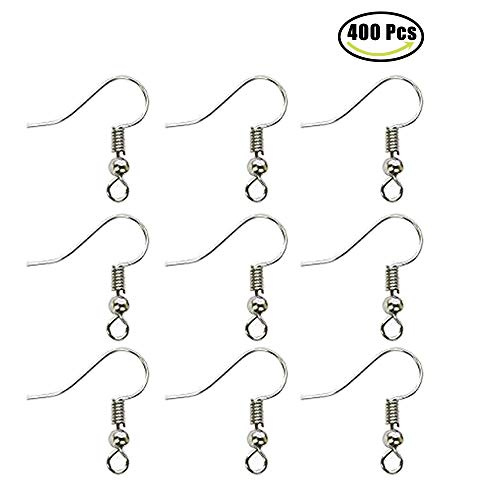 LLBH 400 Pcs Silver Stainless Steel Ball & Coil Earring Hooks/Fish Hooks/Ear Wire for DIY Jewelry Making