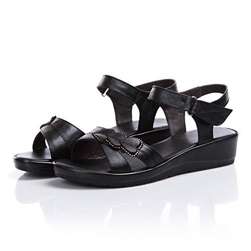 Donyyyy Damen Schuhe, Sommer Sandalen, flacher Boden, mittleren Alters und alte Mutter Schuhe, bequeme und skidproof Frauen.  black|Thirty-seven