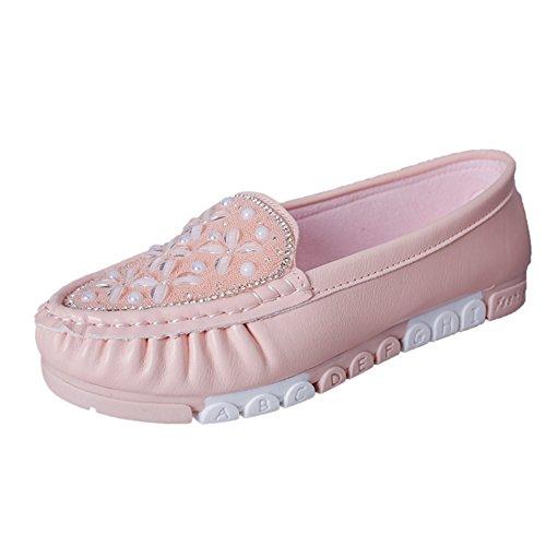 Zapatos de primavera/verano con perforación de agua plana, poco profunda/Zapatos ocasionales ronda Rosa