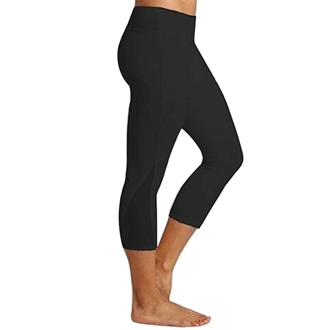 8634c658291b0d WILLTOO Women Mesh Patchwork Yoga Capris High Waist Workout Pants Running  Leggings Tight Athletic Pants Black