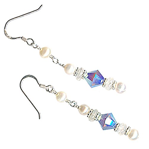 rystal Sterling Silver Cultured Freshwater Pearl Pierced Earrings (Cultured Pearl Moonstone Earrings)