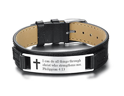 Mealguet Jewlery I can do All Things Through Christ who Strengthens me Philippian 4:13 Inspirational Leather Bracelet
