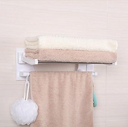 Sucker toallas Racks de toallas de baño plegable libre de agujeros toalla Bar Racks (Tamaño : Long:60cm) : Amazon.es: Hogar