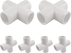 MARRTEUM 1/2 Inch 4 Way PVC Cross Elbow Fitting Furniture Build Grade SCH40 Pipe Joint for Greenhouse Shed / Garden Support Structure / Storage Frame [Pack of 6]