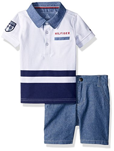 Tommy Hilfiger Baby Boys 2 Pieces Polo Shorts Set, White 3-6 Months