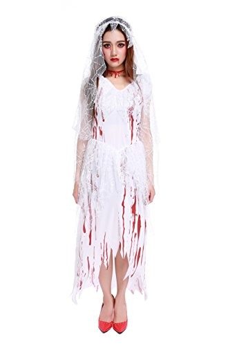 [Women's Zombie Corpse Bride Haunted Beauty Halloween Costume Blooded White Dress] (Haunted Ghost Costume)