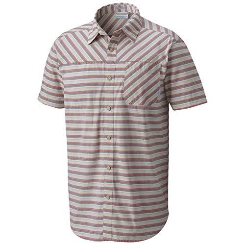 (Columbia Men's Thompson Hill Yarn Dye Short Sleeve Shirt, Fossil Stripe Medium)
