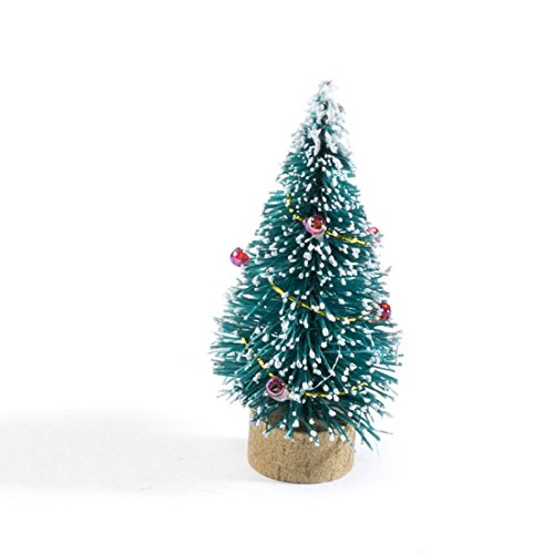 Factory Direct Craft 2 Inch Miniature Decorated Green Bottle Brush Trees on Wood Bases - 6 Trees