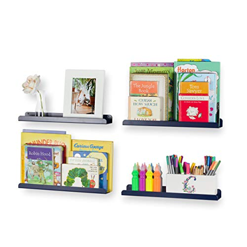 Wallniture Sedona Wall Mounted Floating Shelves for Nursery Decor Kid's Room Bookshelf Display Picture Ledge Navy Set of 4 (Navy Blue Bookshelf)
