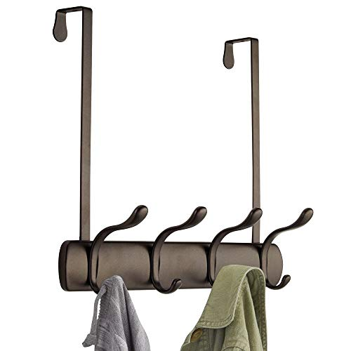 mDesign Decorative Over Door 8 Hook Metal Storage Organizer Rack for Coats, Hoodies, Hats, Scarves, Purses, Leashes, Bath Towels, Robes, Men and Womens Clothing - Bronze