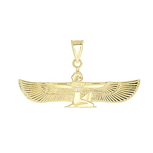 (Solid 14k Yellow Gold Egyptian Winged Goddess Isis Charm Pendant)