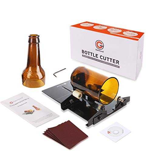 Genround Glass Bottle Cutter, Bottle Cutter DIY Machine for Cutting Wine Beer Whiskey Alcohol Champagne Liquor Round Bottles to Craft Glasses Black ()