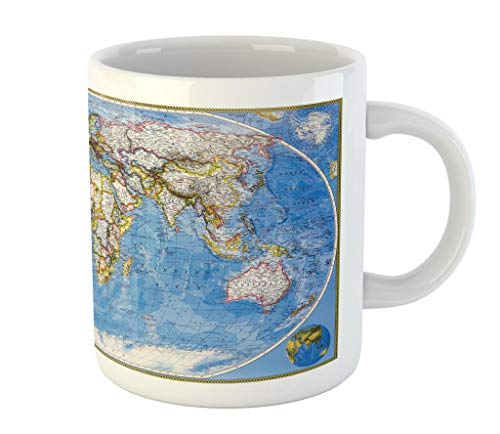 Lunarable World Map Mug, Colored Map of The Entire Planet Earth Global Mod Graphic Design of The World Home, Printed Ceramic Coffee Mug Water Tea Drinks Cup, Blue Grey
