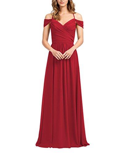 Amore Épaule Longue Des Femmes De Mariée De Robe De Bal Robe De Demoiselle D'honneur En Mousseline De Soie Rouge