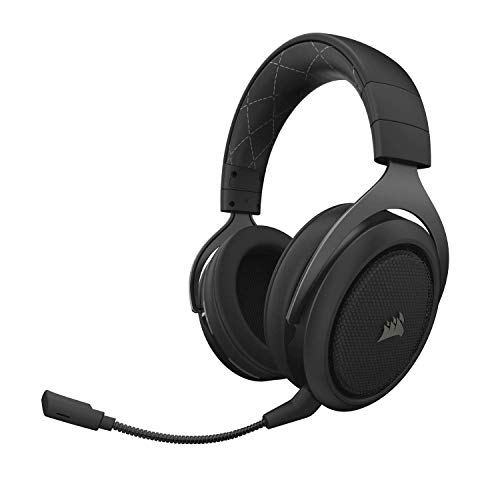 CORSAIR HS70 Wireless Gaming Headset - 7.1 Surround Sound Headphones for PC - Discord Certified - 50mm Drivers - Carbon (Renewed)