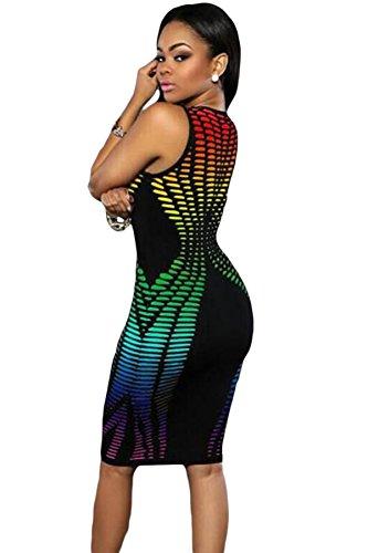 Rainbow impresión Sleevless Vestido de Bodycon Club Wear TAMAÑO UK/M 10–�?2