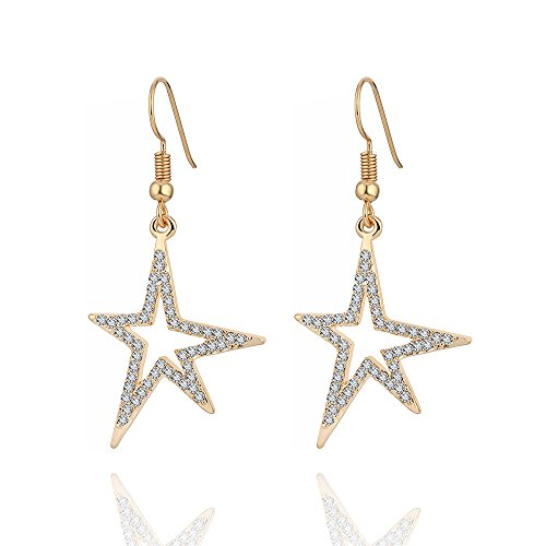 Women Dangle Earrings, Stylish Shining Star Drop Earring for Girls Shining Rhinestone Earring Anti-allergy Hook Earring with CZ Crystal (Gold Plated Shining Star) (Cubic Zirconia Star Dangle)