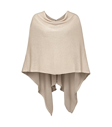 Cashmere Dreams Women Wrap Poncho Topper in Various Colors-Beige Cashmere Summer Cardigan