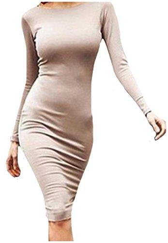 Maxi Fino Vestito Le Sottile E Kaki Zip Coolred Solido Midi Montaggio Backless Sexy Donne qnwt7nZz