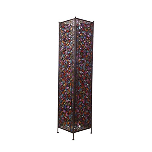 Glass Colourful Beads - FORWIN Floor Lamp w- Large Iron Moroccan Floor Lamp Stylish Cutwork Jeweled Floor Light with Colourful Organic Glass Beads E142,120x27cm Indoor Lighting