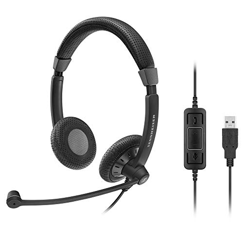 - Sennehiser SC 70 USB CTRL (506504) - Double-Sided Business Headset | For Unified Communications | with HD Sound, Noise-Cancelling Microphone, & USB Connector (Black)