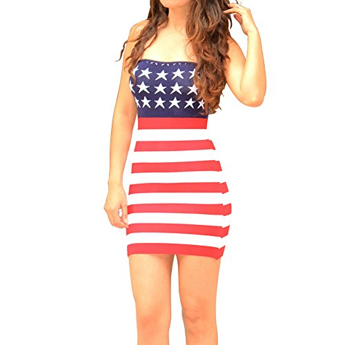 Slim Bloom Women American Flag Dress July 4th Summer Gift Sleeveless Bodycon