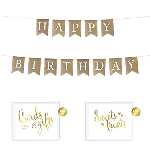 Andaz Press Real Burlap Fabric Pennant Hanging Banner with Gold Ink Party Signs, Happy Birthday, Pre-Strung, No Assembly Required, 1-Set (Happy Birthday Pennant Banner)