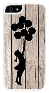 Banksy Balloon Girl On Wood iPhone 5 Case - Fits iPhone 5 & iPhone 5S (White Case V2)