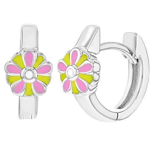Enamel Huggie Earrings - 925 Sterling Silver Pink Yellow Enamel Flower Huggie Hoop Earrings for Girls 0.47