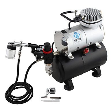 HJLWST OPHIR 0.3mm Dual Action Airbrush Kit Air Compressor Tank Set Hobby Body Painting Makeup