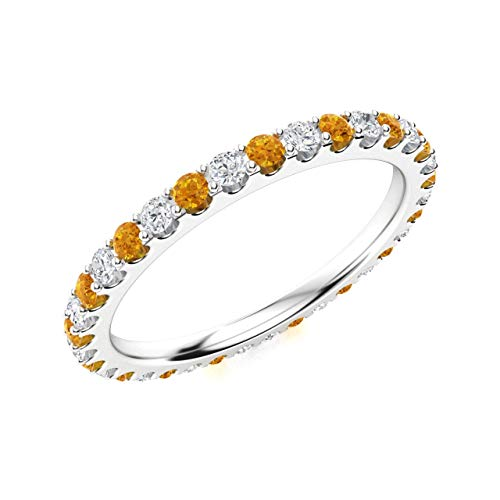 Diamondere Natural and Certified Citrine and Diamond Wedding Ring in 14K White Gold | 1.02 Carat Full Eternity Stackable Band for Women, US Size 7