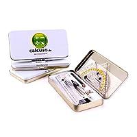 Calcuso Kit 10pièces de géométrie comprenant compas, équerre-rapporteur etc. dans une boîte en métal