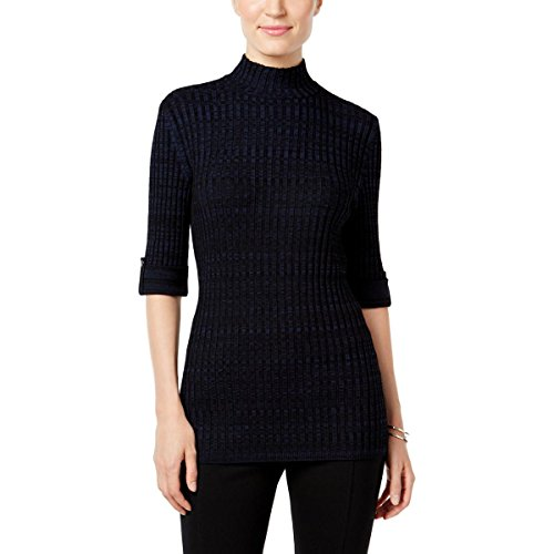 Co Ribbed Style & Petites - Style & Co. Womens Petites Ribbed Knit Marled Turtleneck Sweater Navy PS