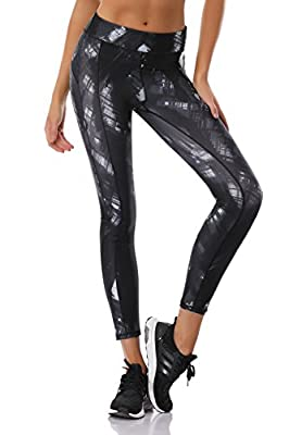 AXESEA Womens High Waist Yoga Pants Printed 7/8 Leggings for Workout,Gym Surfing&Everyday Wear
