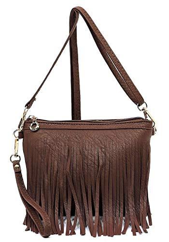 Elphis Western Vintage Fringe Tassel Wristlet Clutch Hipster Shoulder Bag Cross Body Bag(091) (Coffee Brown)