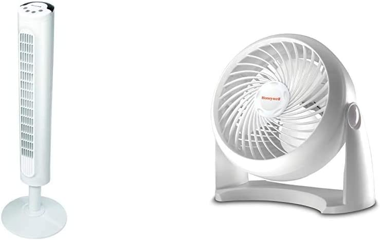 Honeywell White Comfort Control Tower Fan, Slim Design, Powerful Cooling, 1 Pack & Kaz HT-904 Tabletop Air-Circulator Fan White