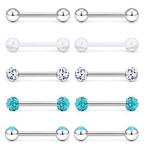 (Cisyozi 5 Pairs 14G Stainless Steel Jeweled Blue Opal Nipple Tongue Shield Ring Barbell Body Piercing Jewelry Retainer 9/16 Inch 14mm)