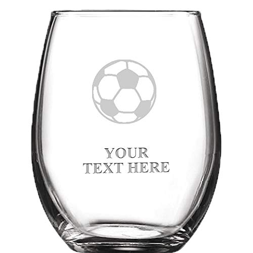 Soccer Ball Personalized Wine Glass - 9 oz Custom Soiree Stemless Soccer Coach Wine Glass Gift With Custom Engraving Prime -