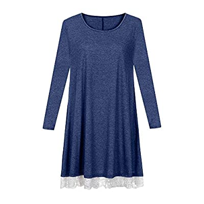 Dresses for Women Casual Fall, Women's Long Sleeve Lace Tunic Dress Plus Size Swing Dress T Shirt Dress with Pockets at  Women's Clothing store