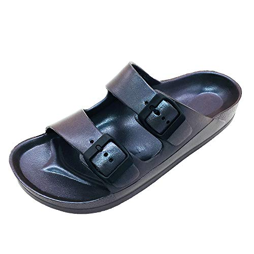 FUNKYMONKEY Women's Comfort Slides Double Buckle Adjustable EVA Flat Sandals (8 M US-Women, Variation Navy) (Buckle Sandals Flat Slide)