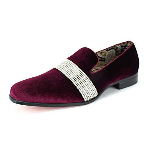 (AFTER MIDNIGHT Men's Velvet Smoking Slipper with Band of Stones! Bejeweled Smoker Shoe! (9,)