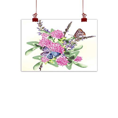 Mannwarehouse Modern Oil Paintings Flower Seamless Wallpaper Pattern with Butterflies for Design Canvas Wall Art 35