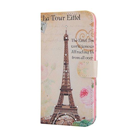 Für Apple iPhone 6 plus (5.5 Zoll) Tasche ZeWoo® Ledertasche Strass Hülle PU Leder Schutzhülle Glitzer Case Cover - XX021 / la tour eiffel