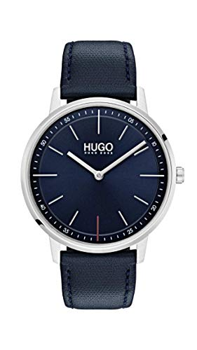 Hugo Men's #Exist - Ultra Slim Quartz Stainless Steel and Leather Strap Casual Watch, Color: Blue (Model: ()