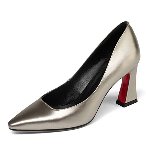 Work Party Champagne Shoes Four Ladies Pointed Heels Seasons Office Pumps Shoes Womens High Leather GAOLIXIA Career Court Cvwq4zxTT